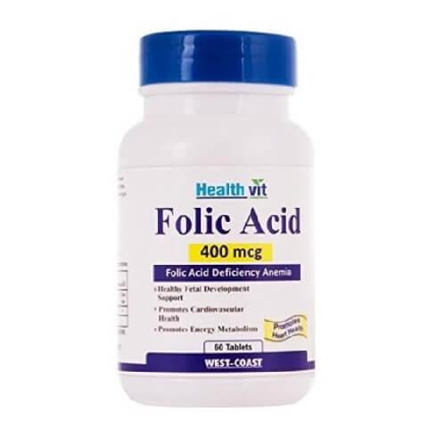 Healthvit Folic Acid (400 mcg),  Unflavoured  60 tablet(s)