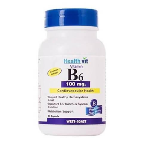 Healthvit Vitamin B6 (100 mg),  Unflavoured  60 capsules