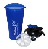 MuscleXP Pre & Post Workout Shaker Bottle,  Blue & Black  500 Ml