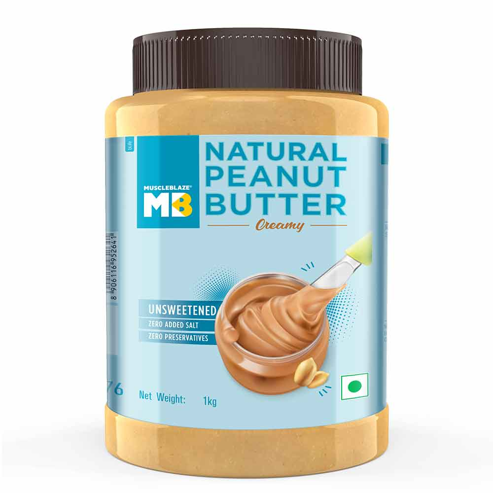 1 - MuscleBlaze Natural Peanut Butter Unsweetened,  1 kg  Super Smooth