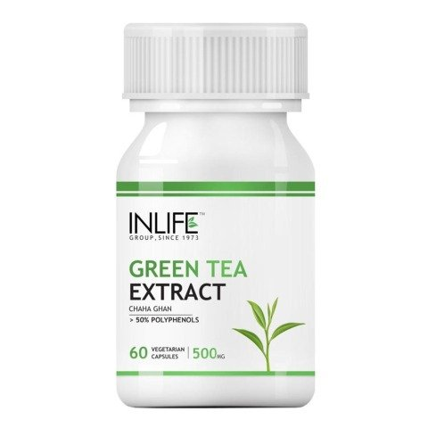 INLIFE Green Tea Extract (500mg),  60 veggie capsule(s)  Unflavoured