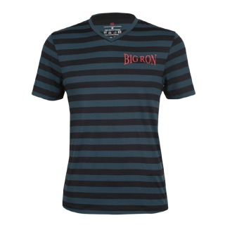 Rocclo T Shirt-5051,  Black & Grey Stripe  XXL