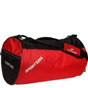 SportSoul Gym Bag with Shoe Pocket, Red   Black