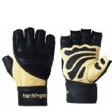 Harbinger Big Grip II WristWrap Gloves,  Tan  L