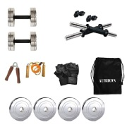 Aurion Steel Combo Home Gym Set with Accessories  Combo of 5  10 Kg  Multicolour