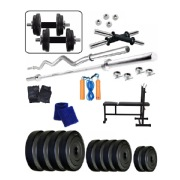 Body Maxx 50 Kg Home Gym 3 IN 1 Multi Weight Bench 4 Rods Fitness Kit Combo 6